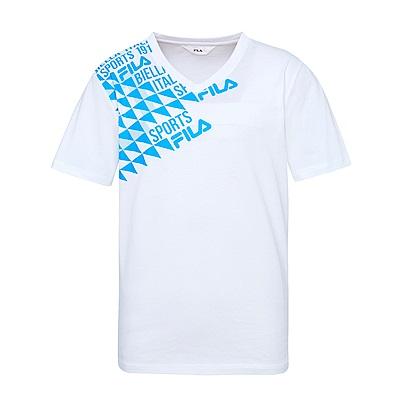 FILA 男款純棉V領T恤-白 1TES-1518-WT