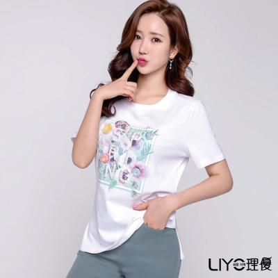 LIYO理優釘珠印花T恤(白)-動態show