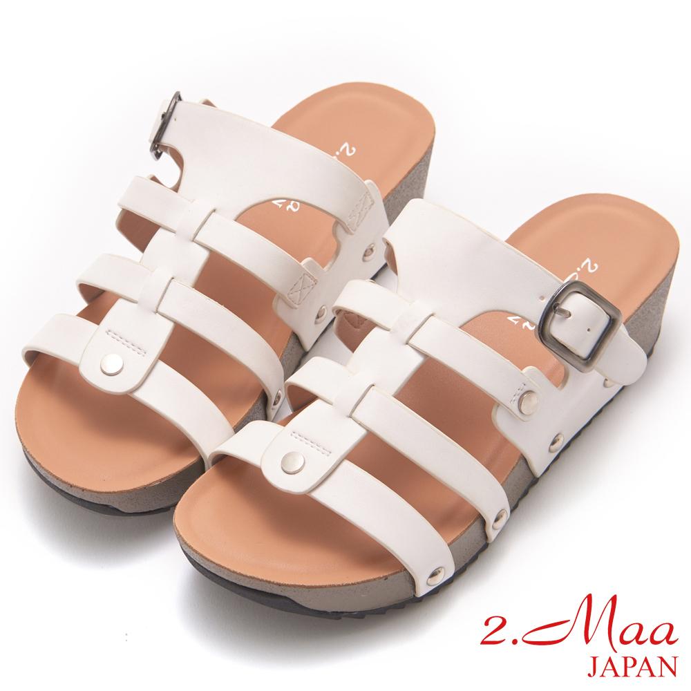 2.Maa-簡約清夏魚骨設計涼拖鞋-白