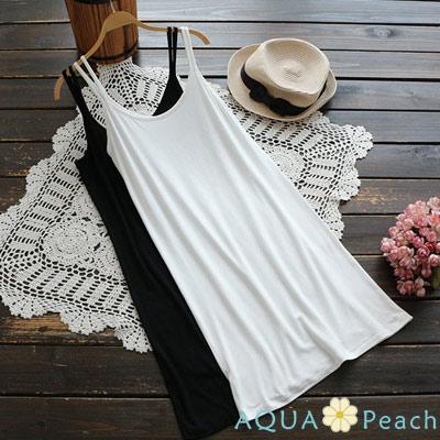 雙吊帶莫代爾棉裙內搭襯衣 (共二色)-AQUA Peach