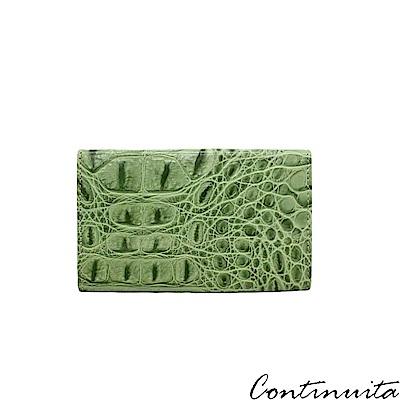 Continuita 康緹尼 頭層牛皮日本鱷魚紋多功能手機套-綠色