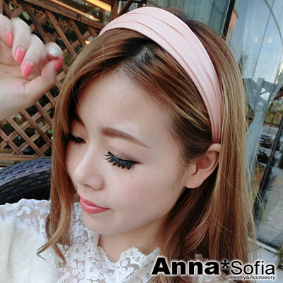 AnnaSofia 皺摺仿皮 韓式寬髮箍髮飾(藕粉)