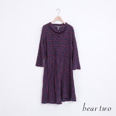 beartwo-不對稱裙襬緹織波浪條紋洋裝-二色