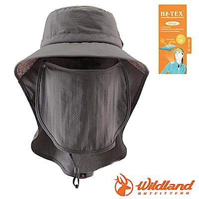 【荒野 WildLand】中性抗UV多功能護頸遮陽帽_深灰