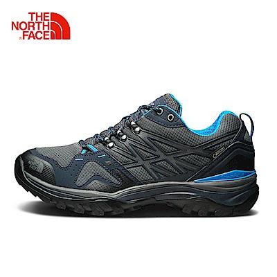 The North Face北面男款灰藍防水透氣徒步鞋