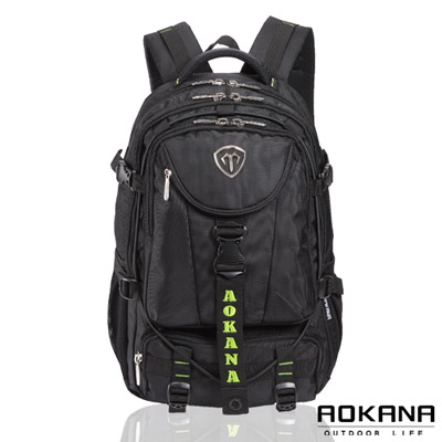 AOKANA奧卡納 台灣釦具 防潑水護脊紓壓電腦後背包(綠標)68-067
