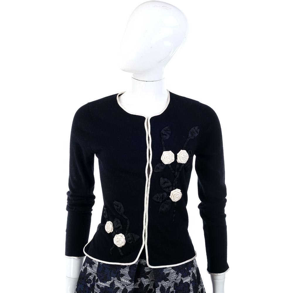 MARELLA 黑色立體花朵滾邊設計小外套