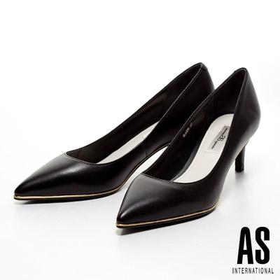 AS-金屬風優雅美型羊皮尖頭高跟鞋-黑