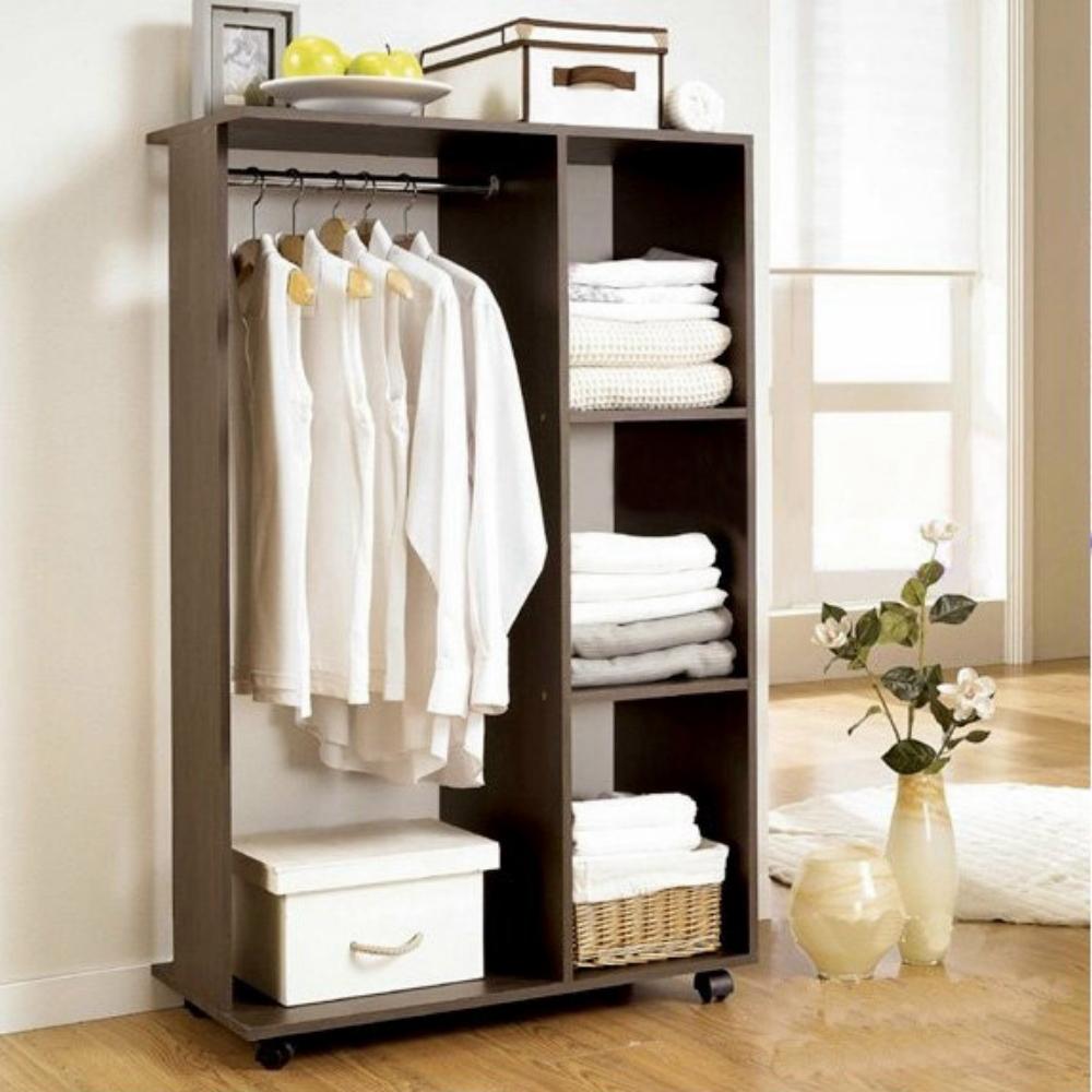 頂堅 [單桿+三格]吊衣櫃(寬80x深40x高125/公分)-二色