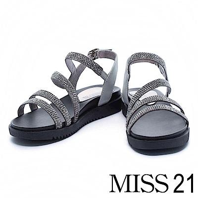 涼鞋 MISS 21 奢華水鑽條帶異材質拼接厚底涼鞋-灰