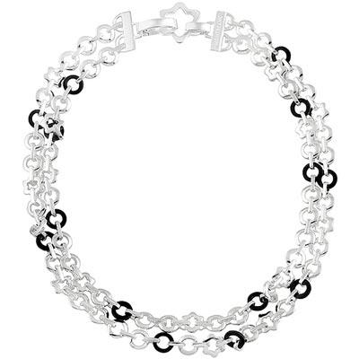 MONT BLANC 萬寶龍  雙圈六角星釦環純銀項鍊