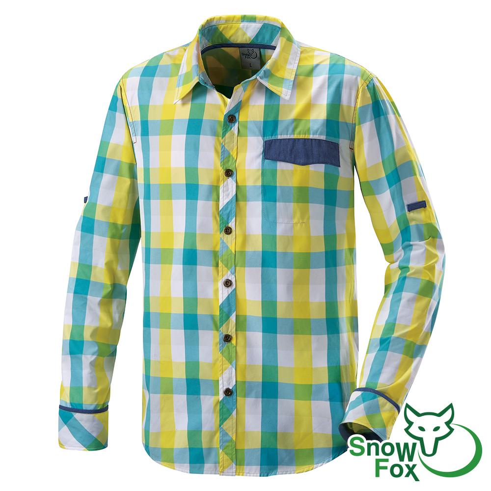 SNOW FOX雪狐男款夏日防曬透氣快乾長短袖格子襯衫AS-81505黃綠格