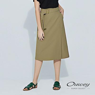 OUWEY歐薇 剪接開衩彈性膝下裙(綠)