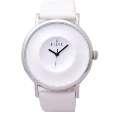 CLOIE 同心波紋耀眼腕錶-白/44mm