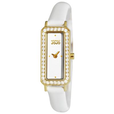 NATURALLY JOJO 光燦名媛經典方款時尚腕錶-白/16mm