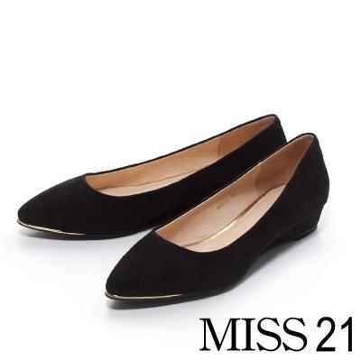MISS-21-俏麗女郎-羊麂皮金屬尖頭低坡平底鞋-黑