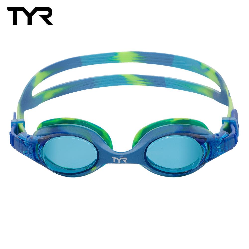 美國TYR Swimple Tie Dye-Blue/Green舒適抗UV兒童泳鏡