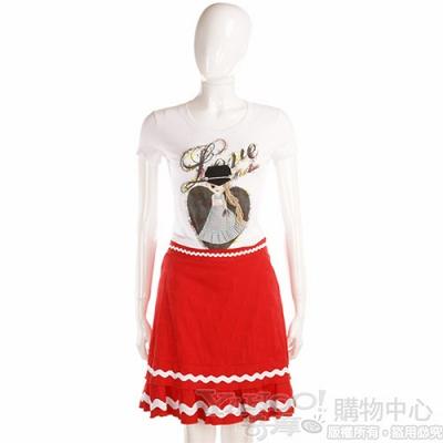 MOSCHINO 紅色波浪滾邊裙