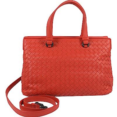 BOTTEGA VENETA編織簡約可斜背兩用雙層手提包(紅)