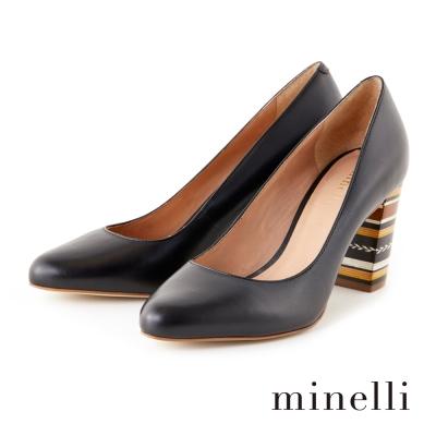 Minelli-真皮粗跟高跟鞋-優雅黑
