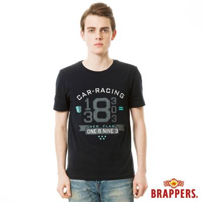 BRAPPERS 男款 牛津配布繡花短袖上衣-深藍
