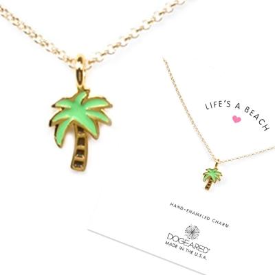 Dogeared 嫩綠棕梠樹項鍊 琺瑯搪瓷棕梠樹 金色許願項鍊 就是要陽光沙灘 附原廠盒