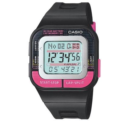 CASIO 10年電力慢跑數位運動風錶(SDB-100-1B)-黑/桃紅按鍵/33mm