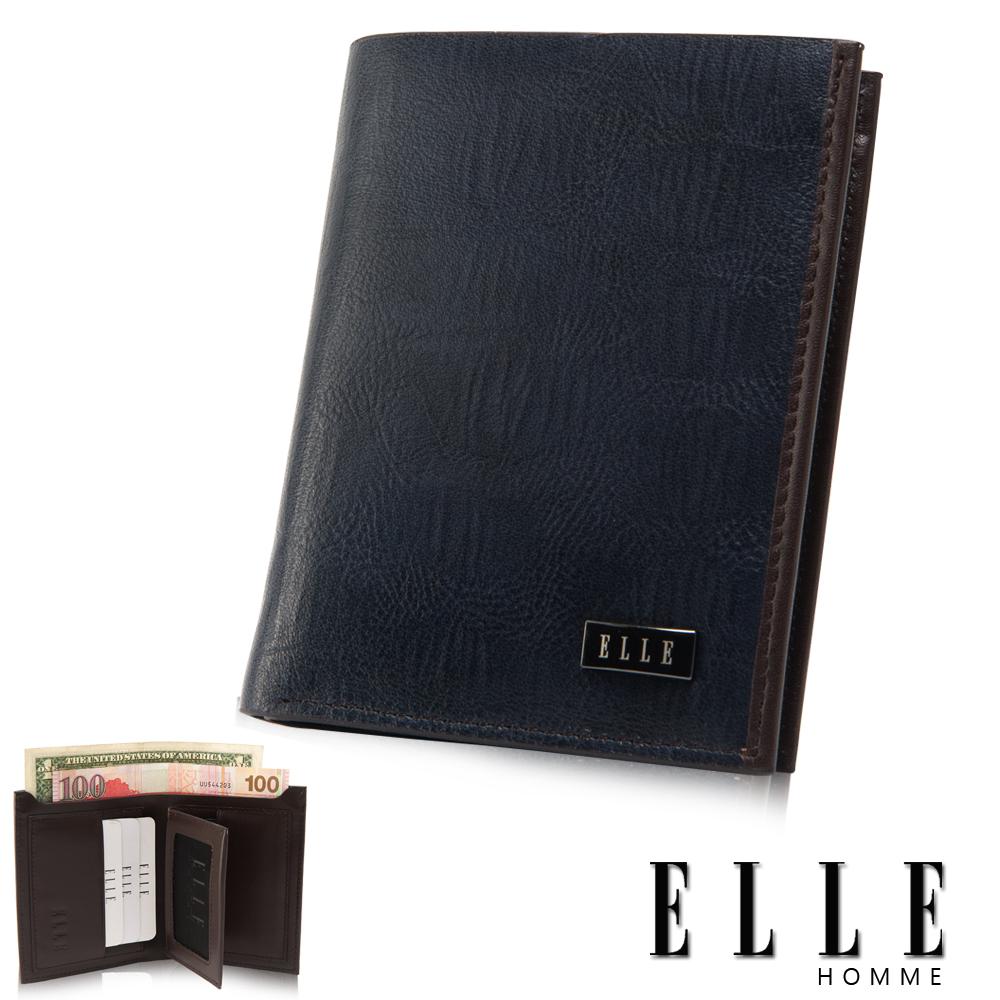 福利品 ELLE 鱷魚皮壓紋系列 多層證件夾層/鈔票/名片設計中夾- 撞色藍色