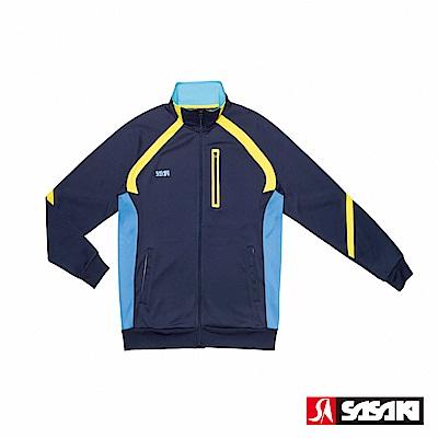 SASAKI 吸濕排汗功能伸縮針織運動夾克-男-丈青/鮮藍