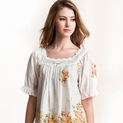羅絲美睡衣 - 典雅印花短袖褲裝睡衣 (純潔白)