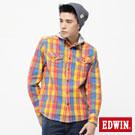 EDWIN 穩固焦點 可拆帽粗斜格長袖襯衫-男款(黃色)