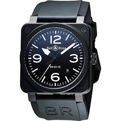 Bell & Ross Aviation 軍事飛行陶瓷機械腕錶-黑/42mm