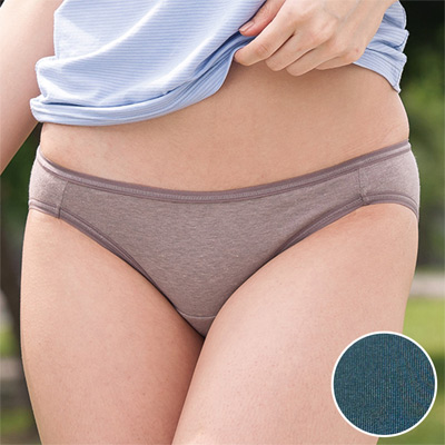 華歌爾-健康黑竹炭M-LL低腰高裾三角褲(松藍綠)