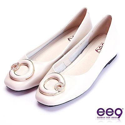ee9 花漾年華鑲嵌水鑽內增高平底娃娃鞋 米色