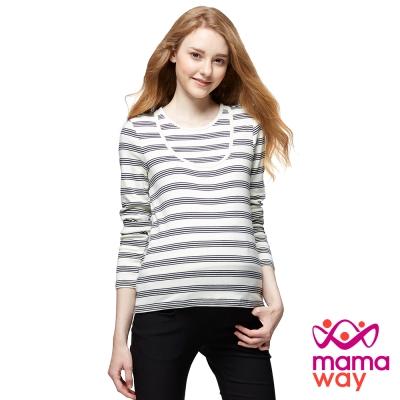 mamaway媽媽餵 百搭圓領長版孕哺上衣(共4色)