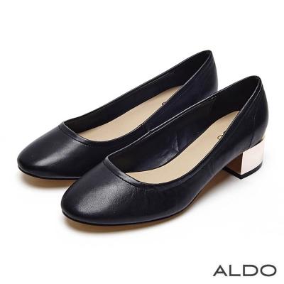 ALDO 真皮原色雙色夾心底圓頭粗跟鞋~尊爵黑色