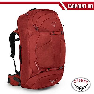 【美國 OSPREY】新款 Farpoint 80L 多功能自助旅行背包(M/L) 紅 R