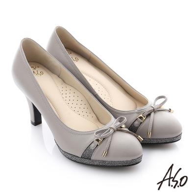 A.S.O 減壓美型 真皮蝴蝶結奈米高跟鞋 灰色