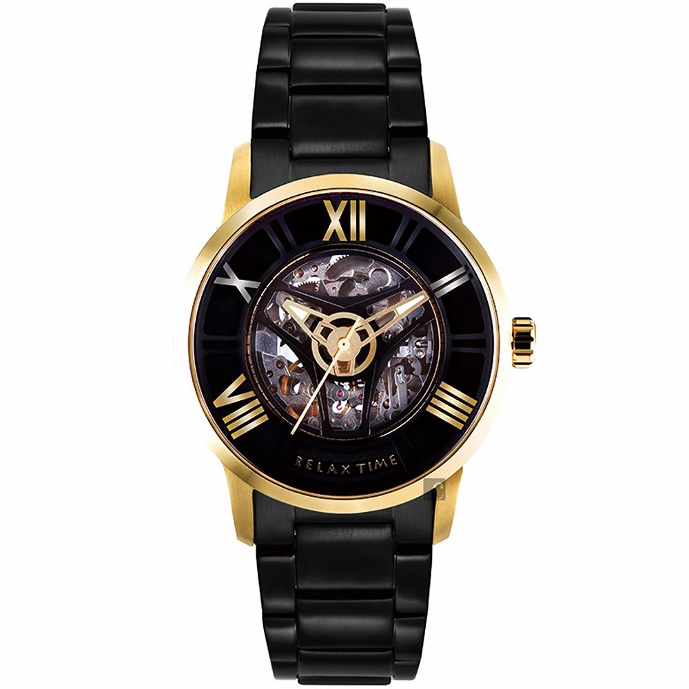 RELAX TIME RT61X系列 羅馬鏤空機械錶(RT-61X-1)-黑x金框45mm