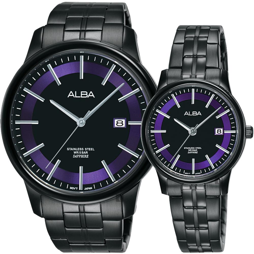 ALBA雅柏 七夕情人限定時尚對錶(AS9D91X1+AH7N69X1)-42+28mm