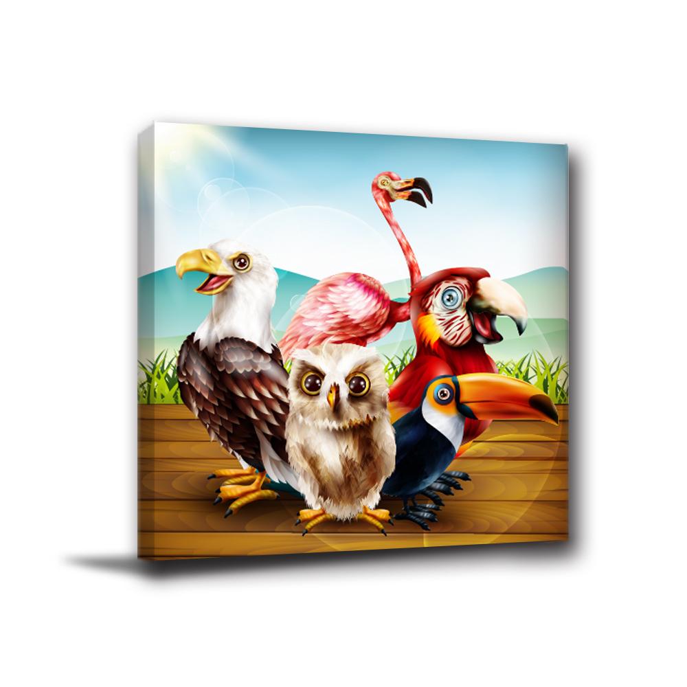 24mama掛畫-單聯無框圖畫藝術家飾品掛畫油畫-叢鳥森林-40x40cm