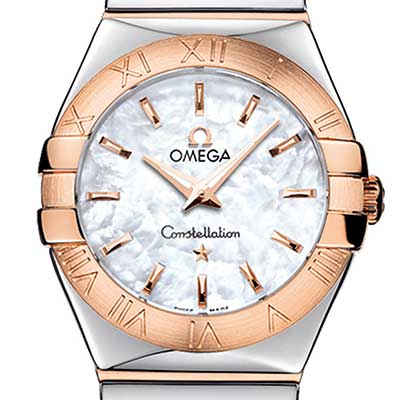 Omega 歐米茄 星座系列 玫瑰金白色珍珠面女錶-27mm