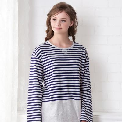 羅絲美睡衣 -條條有理長袖褲裝睡衣(藍條紋)