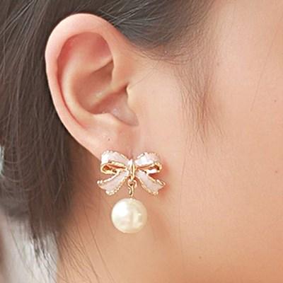 梨花HaNA-唯美小女人禮物緞帶珍珠耳環夾式
