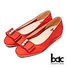 bac時尚美人-珍珠水鑽點綴平底包鞋-桔色