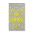KENZO-老虎-純棉毛巾蓋毯(沁灰+亮黃)