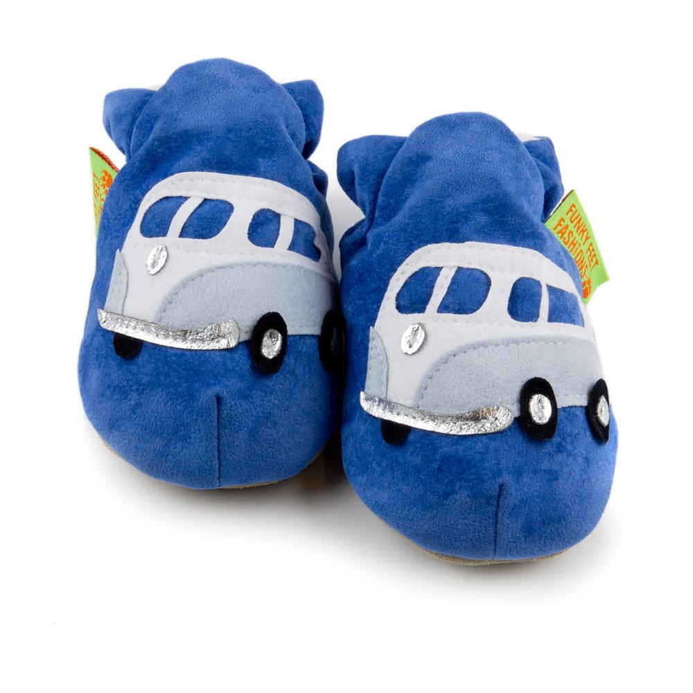 英國 Funky Feet 室內手工鞋- 藍色露營車 FF001008
