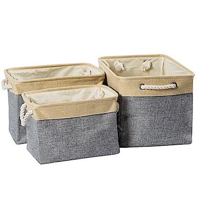 PINUS 日系簡約風 棉麻收納籃 收納袋 1717018 (灰色 3入)