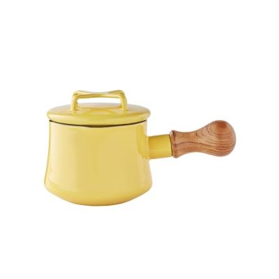 DANSK-琺瑯單耳燉煮鍋13cm-芥茉黃