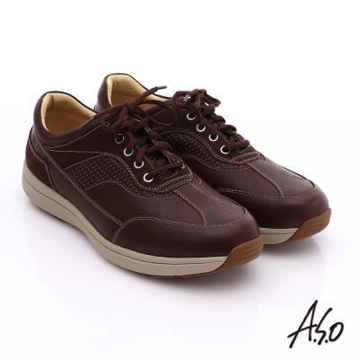 A.S.O 挺力氣墊 真皮絨面輕量抗震休閒鞋 咖啡
